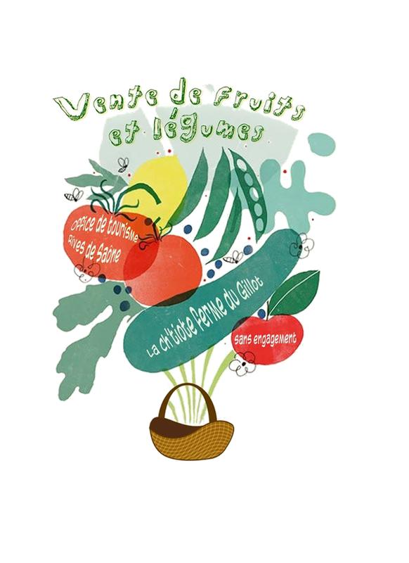 Affiche vente de fruits et légumes en Rives de Saône