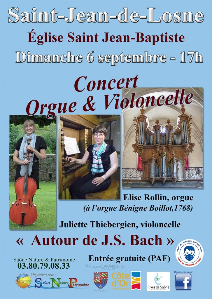 Affiche concert orgue & violoncelle à Saint-Jean-de-Losne